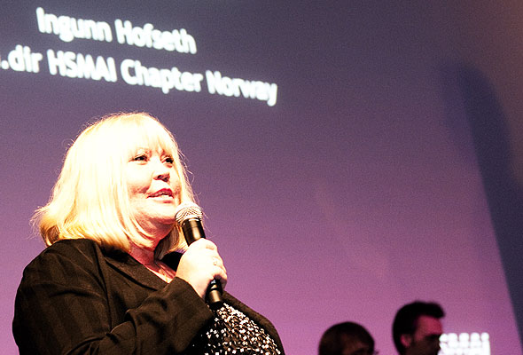 Ingunn Hofseth på HSMAI-prisfesten torsdag kveld. Fotograf: Catharina Wandrup/Knut Joner