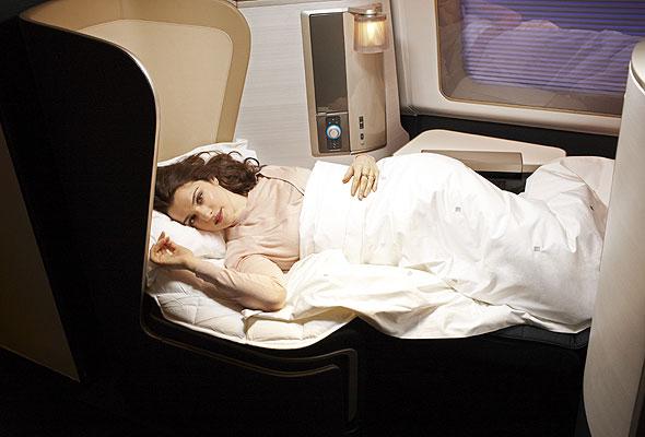 Man sover godt på British Airways' First