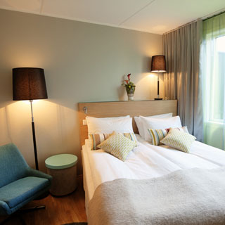 Et av rommene i nye Thon Hotel Tromsø.