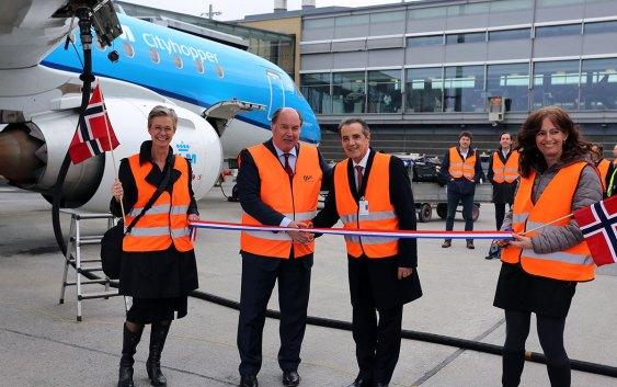 Fra åpningen av KLMs biodrivstoff-flyvninger på Gardermoen torsdag 31. mars 2016. Foto fra Avinor Oslo lufthavn.
