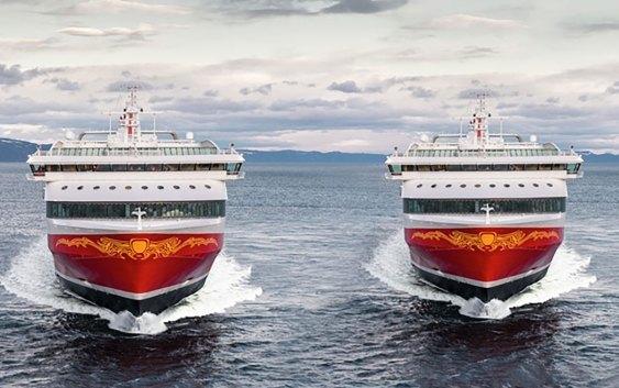 """Fjord Lines MS """"Stavangerfjord"""" og MS """"Bergensfjord"""". Foto fra Fjord Line."""