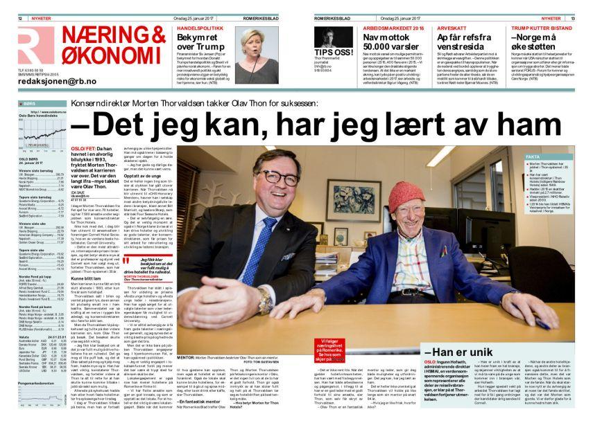 RB-intervjuet med Morten Thorvaldsen og Olav Thon. Klikk på bildet for leselig gjengivelse.