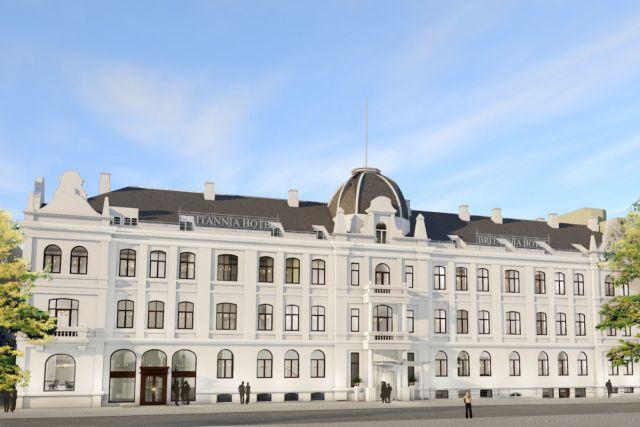 """Slik blir fasaden på """"Nye"""" Britannia Hotel. Illustrasjon fra Reitangruppen."""