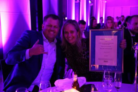 Green Hat People og Nordic Choice Hotels. Stemningen var magisk under HSMAI Awards 2018. Fotograf: Camilla Bergan.