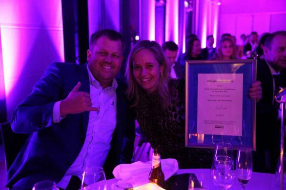 Green Hat People og Nordic Choice Hotels. Stemningen var magisk under HSMAI Awards 2018. Fotograf: Camilla Bergan.
