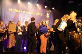 Noen av prisvinnerne under HSMAI Awards 2018. Fotograf: Camilla Bergan.
