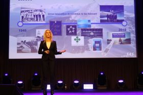 Annelie Nässén, Executive Vice President Global Sales & Marketing i SAS, på HSMAI Møte- og eventbørsen på Meet Ullevaal i Oslo tirsdag 8. januar 2019. Fotograf: Camilla Bergan.