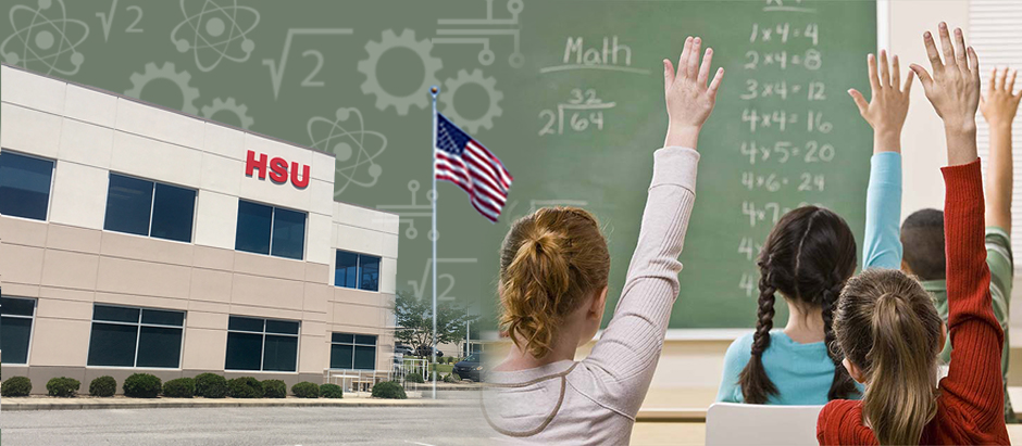 Hsu Educational Foundation montage image of the Hsu Building, the American flag, and a stock image of students raising their hands in a classroom