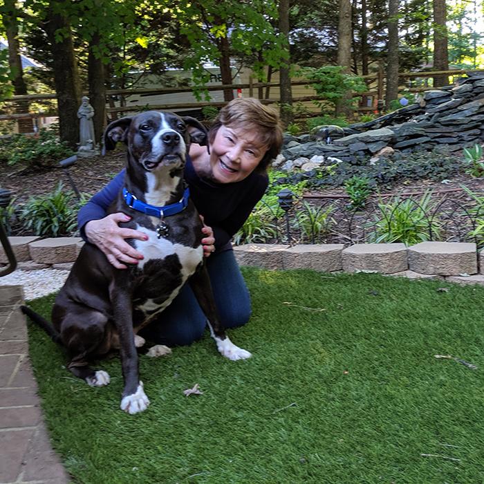 Deborah Zappa with her dog