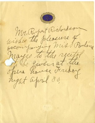 Note from Rupert asking to Pauline on a date