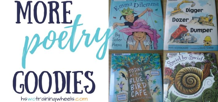 We love poetry teatime! And we love visiting the library to find new poetry books. Check out our latest finds that cover many different subjects!