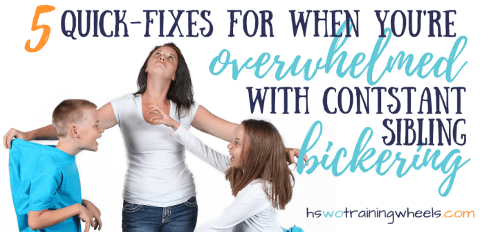 Overwhelmed because the kids are constantly fighting and bickering? Here are some quick ideas to manage sibling squabbles.