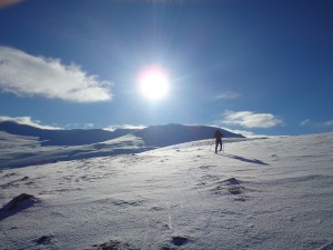 Skiing up Castle Hill