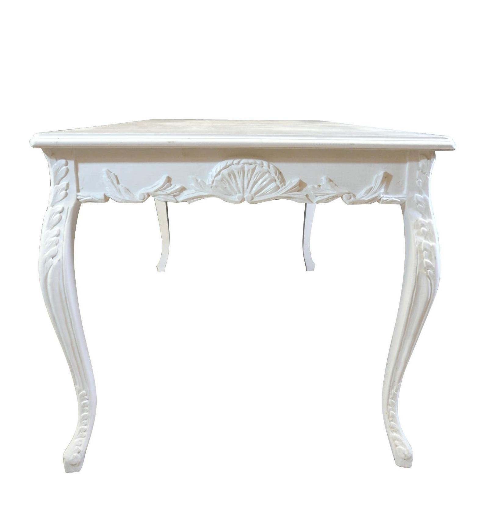 Table baroque blanche de salle à manger pour 8 personnes