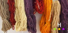 yarns dyed in (from left): pomegranate, lac, tansy, logwood, lac , turmeric, pomegranate, logwood