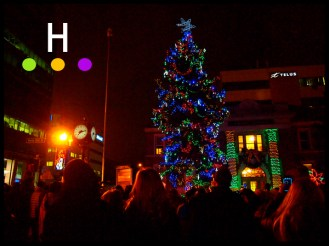 Lighting the tree, Old Court House, Red Deer, Alberta, Canada