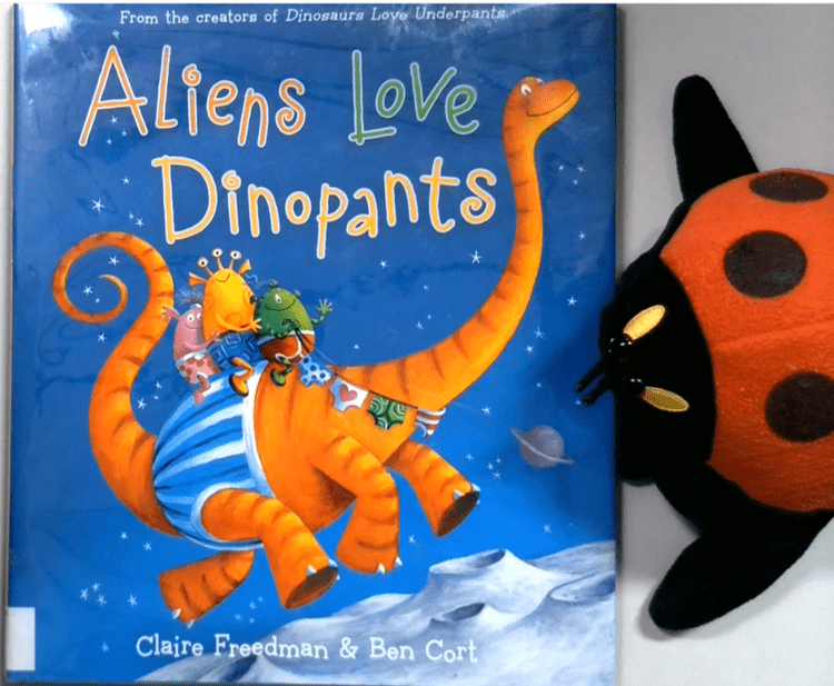 Lila the Library Ladybug reads Aliens Love Dinopants