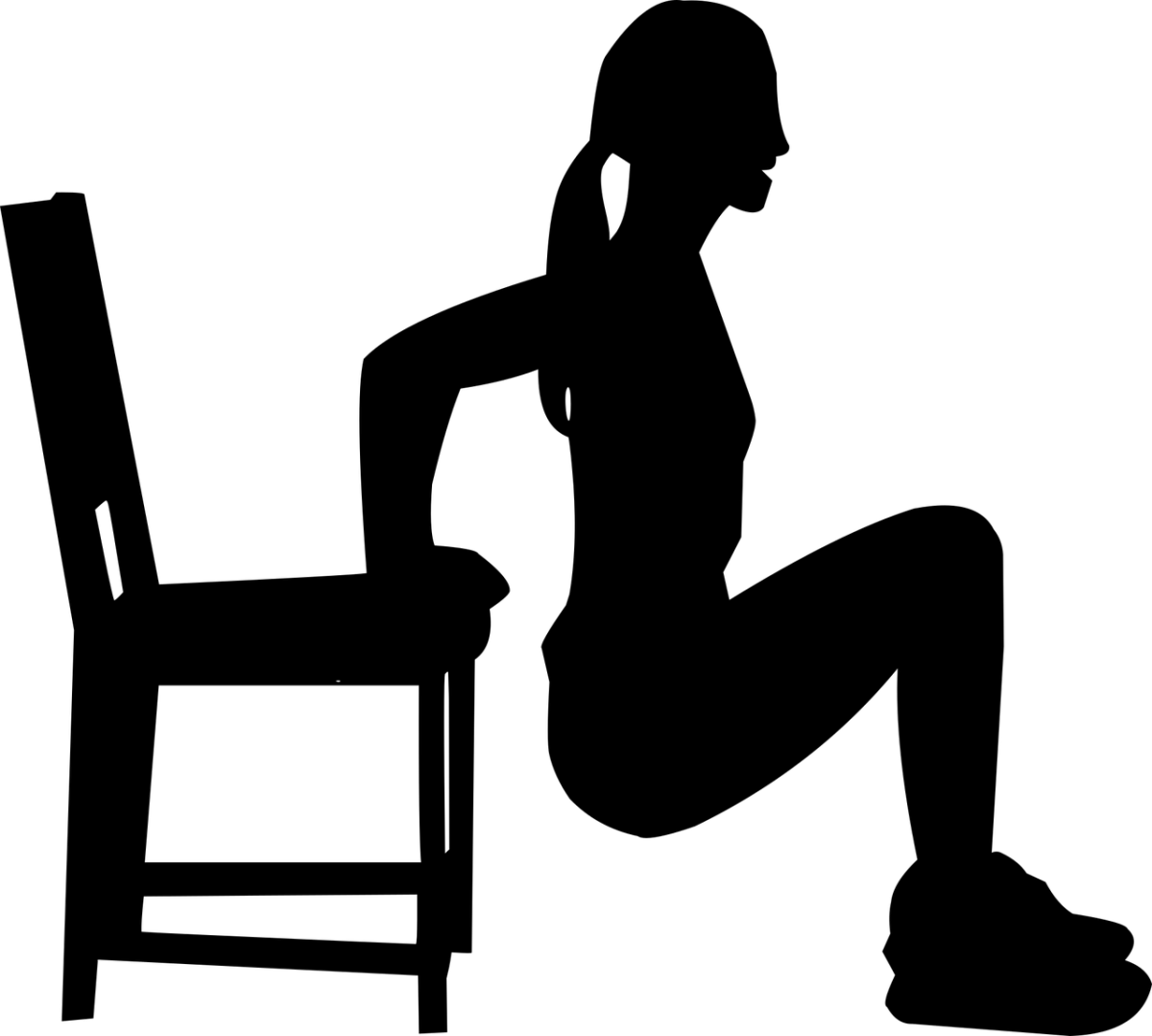 Aerobics exercise silhouette with chair