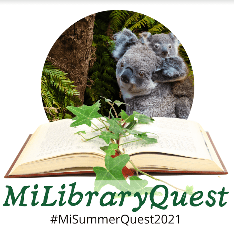 MiLibraryQuest logo with an open book and koala image in background