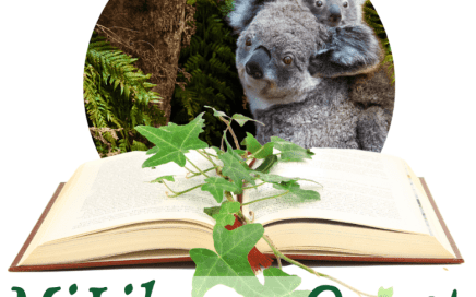 MiLibraryQuest logo with koalas, an open book