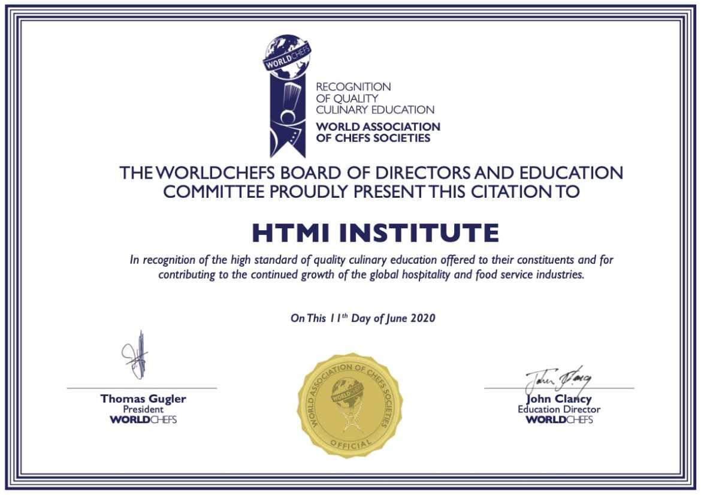 World Association of Chefs Societies Certificate HTMi Switzerland
