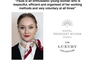 Ms. Paula-Maria Toma, Food & Beverage Service Intern at The President Wilson Hotel in Geneva.