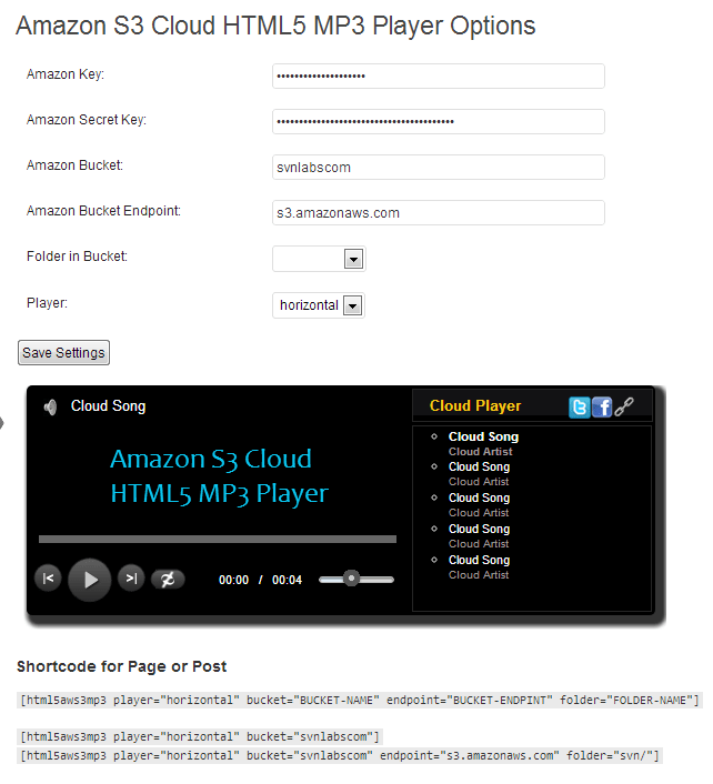 Amazon S3 Cloud HTML5 MP3 Player Options