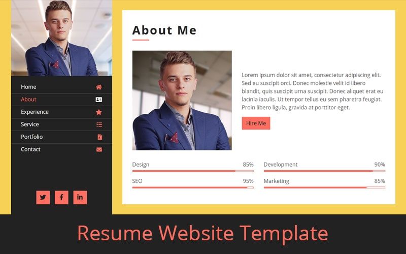 Resume Website Template Free Download Html Codex