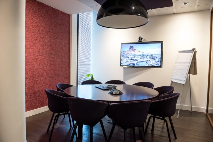 Board room / meeting room equipped with video conferencing and TV