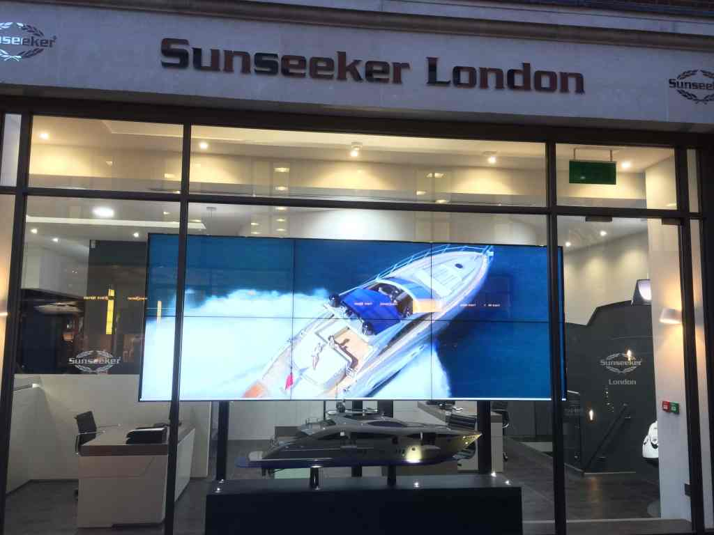 video wall displaying a boat at sunseeker london