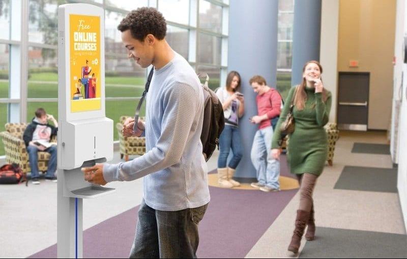 hand sanitiser and digital signage display