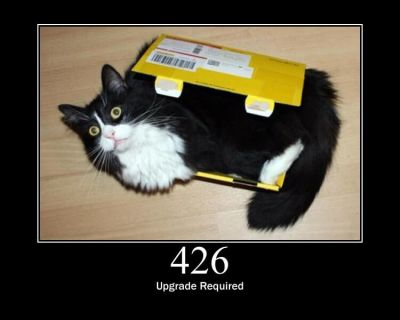 An illustration of the 426 HTTP status code (Upgrade Required) showing a cat in a too small box