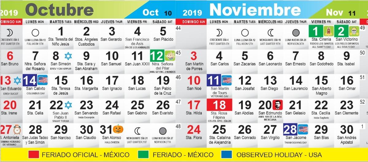 Calendario Con Santos.Calendario Santos De Mexico