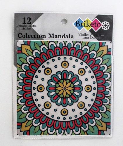 mandala decorative tile stickers set 12 units 6x6 inches pe