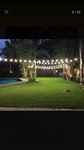 guirnalda luces 12 mts apta exterior para patio bar evento