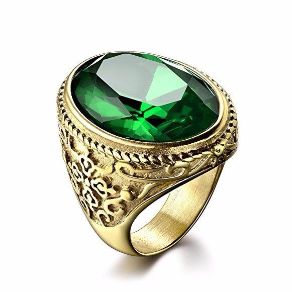 Anillo Argolla Acero Inox Grande Lujo Verde Piedra Hombre