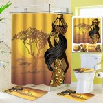 Exotic African Girls Bathroom Shower Curtain Toilet Cover Mat Non Slip Rug Set Shower Curtains Home Garden