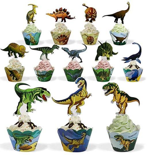 Jurassic World Dinosaurio Fiesta Cupcake Decoracion 24 Pza