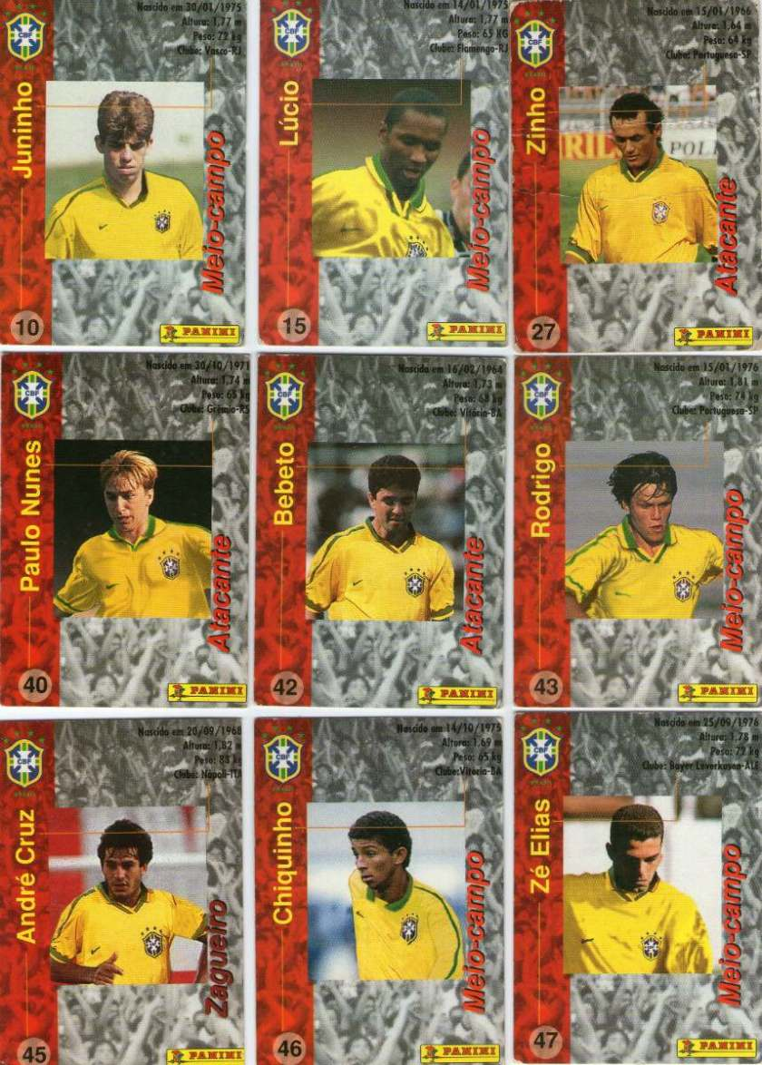 Lote C/ 19 Fut-cards Seleção Brasileira- Coca-cola-1997 - R$ 45,00 ...