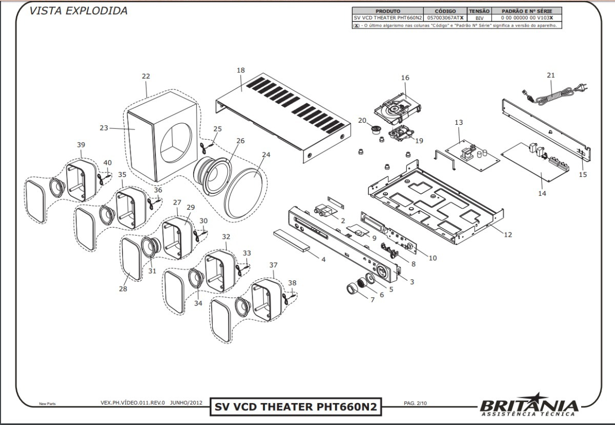 Placa Fonte Pht660n2 Home Theater Philco