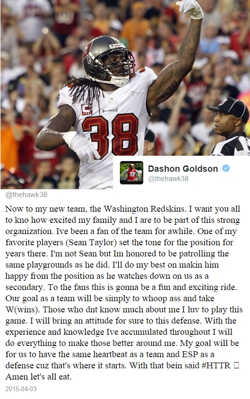 Redskins Acquire Dashon Goldson in Trade With Bucs