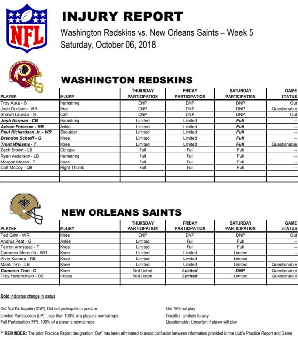 redskins vs saints week 5