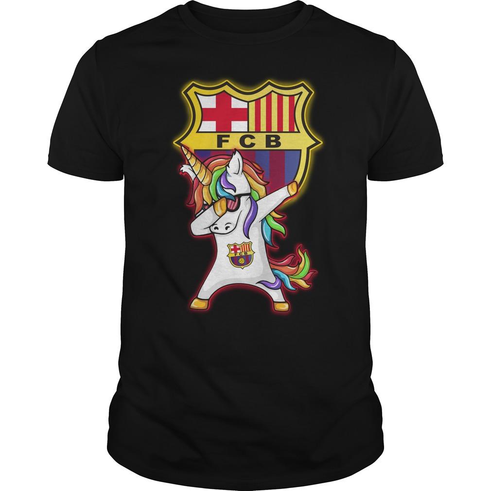 Unicorn dabbing Barcelona football shirt