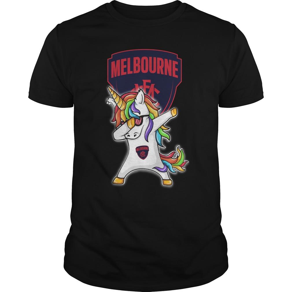 Unicorn dabbing Melbourne Football Club shirt