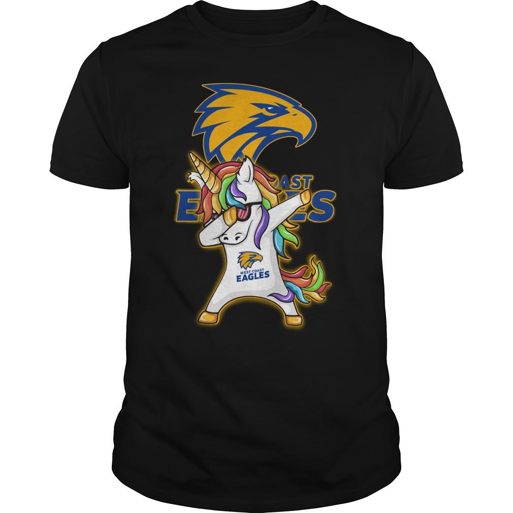Unicorn dabbing West Coast Eagles football shirt