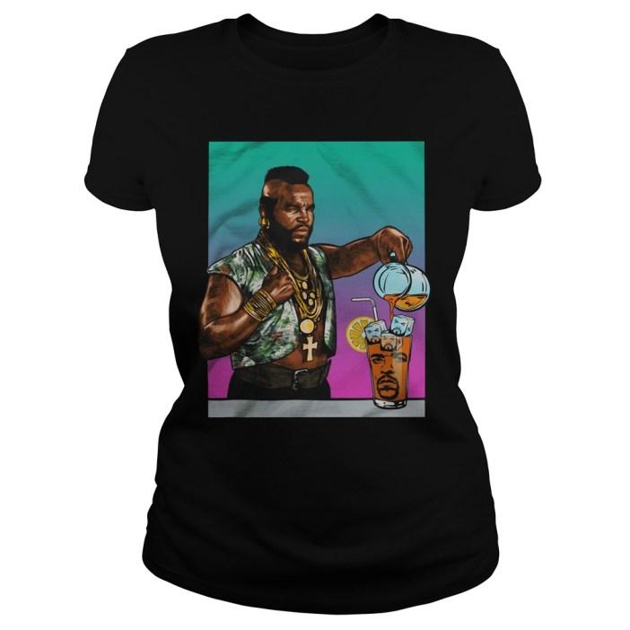Mr. T Drinking Iced Tea Ice Cube Ladies tee