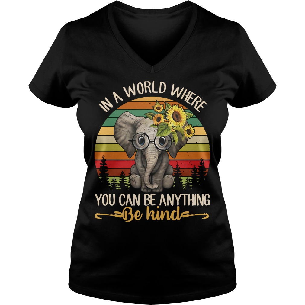 Elephant In a world where you can be anything be kind Vintage V-neck t-shirt