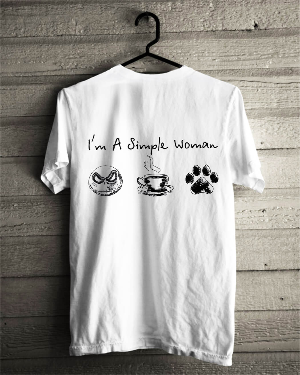I'm a simple woman I like Jack skellington coffee and paw dog shirt