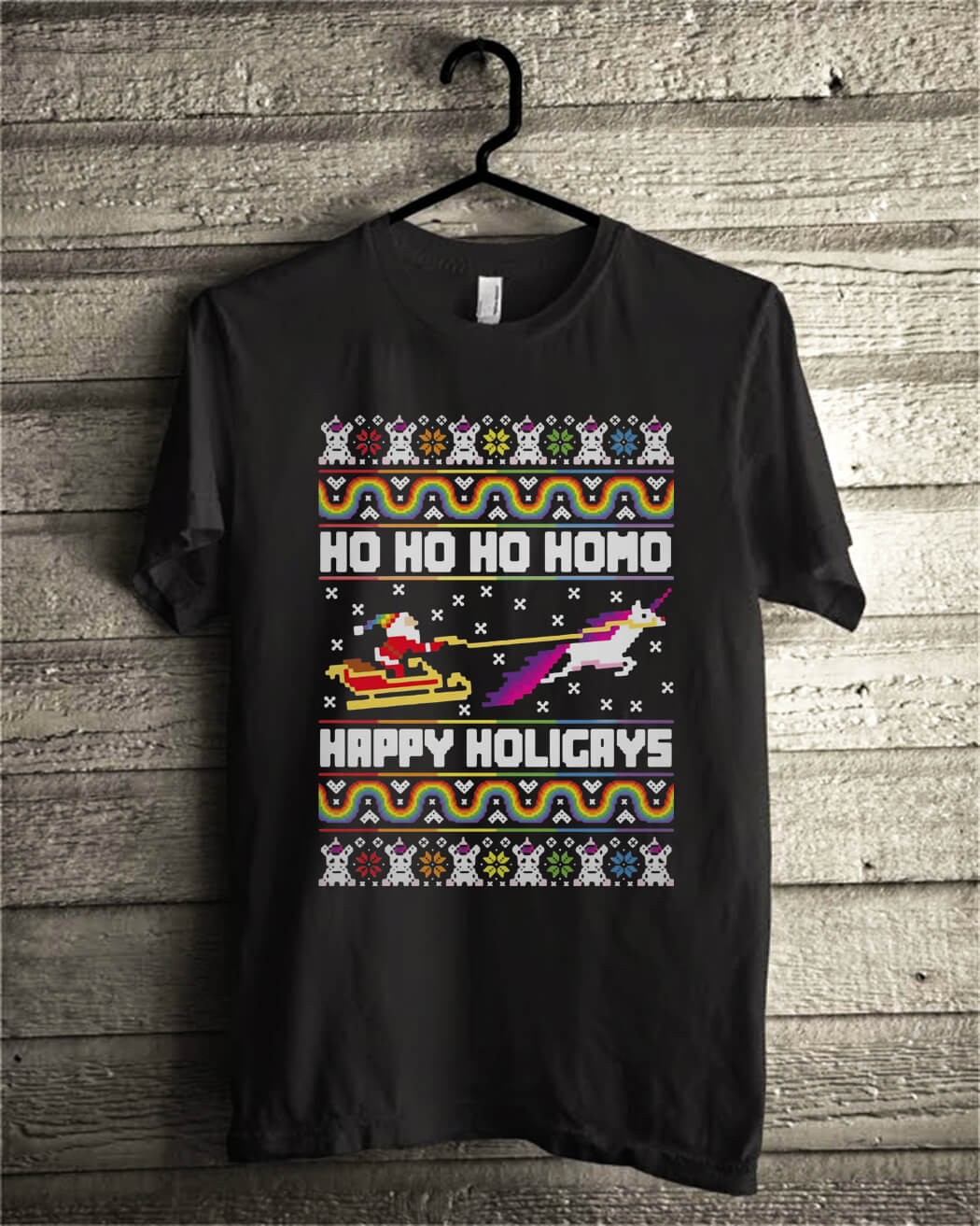 Official Santa riding unicorn Ho Ho Ho Homo happy holidays shirt