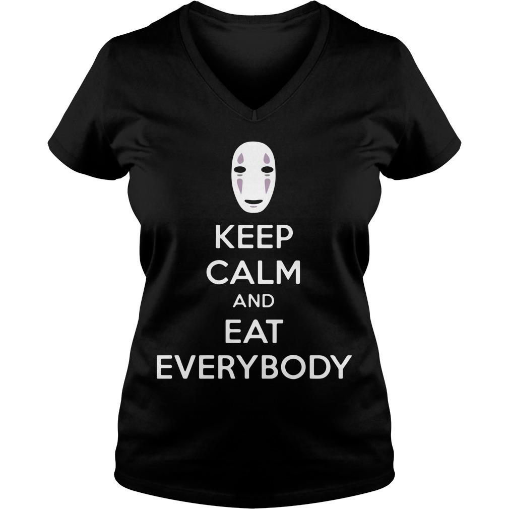 No face keep calm and eat everybody V-neck t-shirt